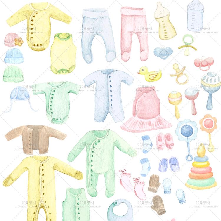 母婴宝宝用品服装玩具店铺水印logo手绘水彩PNG免抠PS设计素材