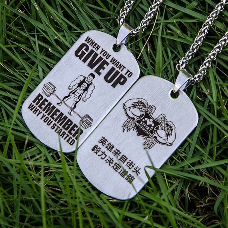 Customized keel chain drawing titanium steel necklace shaper fitness inspirational pendant Lazar barbell boy positive energy