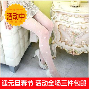 Day One Twill little small bow pantyhose slanting lines jacquard stockings ultra thin double sided summer home