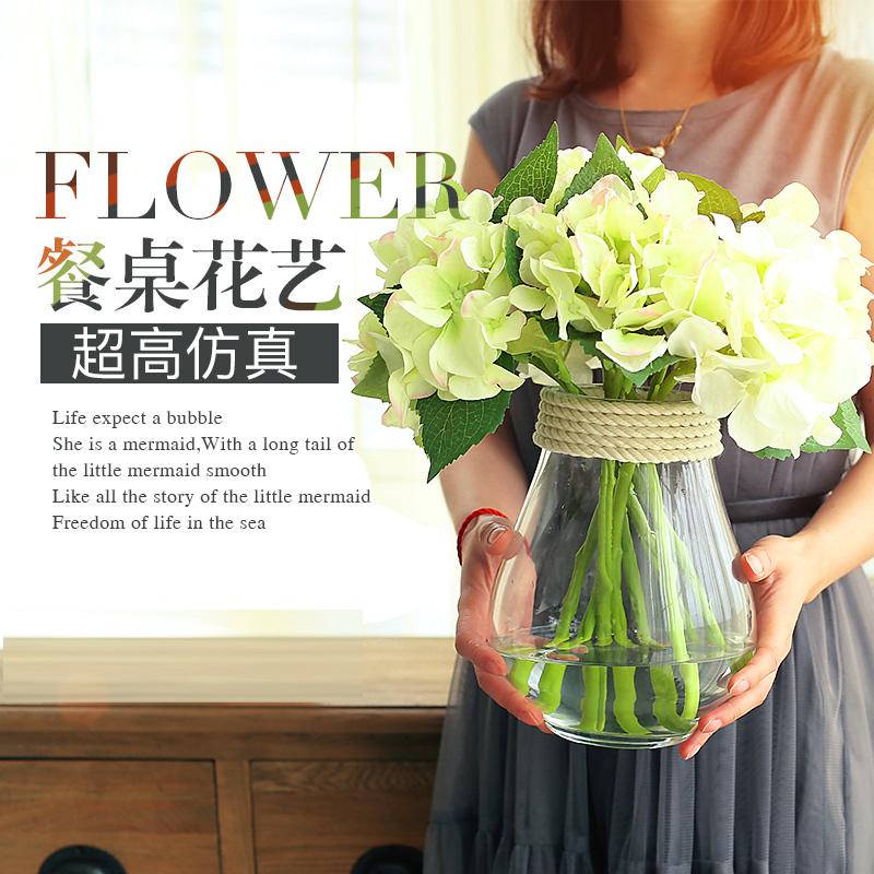 客廳透明花器 繡球花假花玻璃小花瓶擺件 整體花藝仿真花套裝