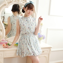 2015 summer wear the new small pure and fresh and sweet floral elastic waist dress