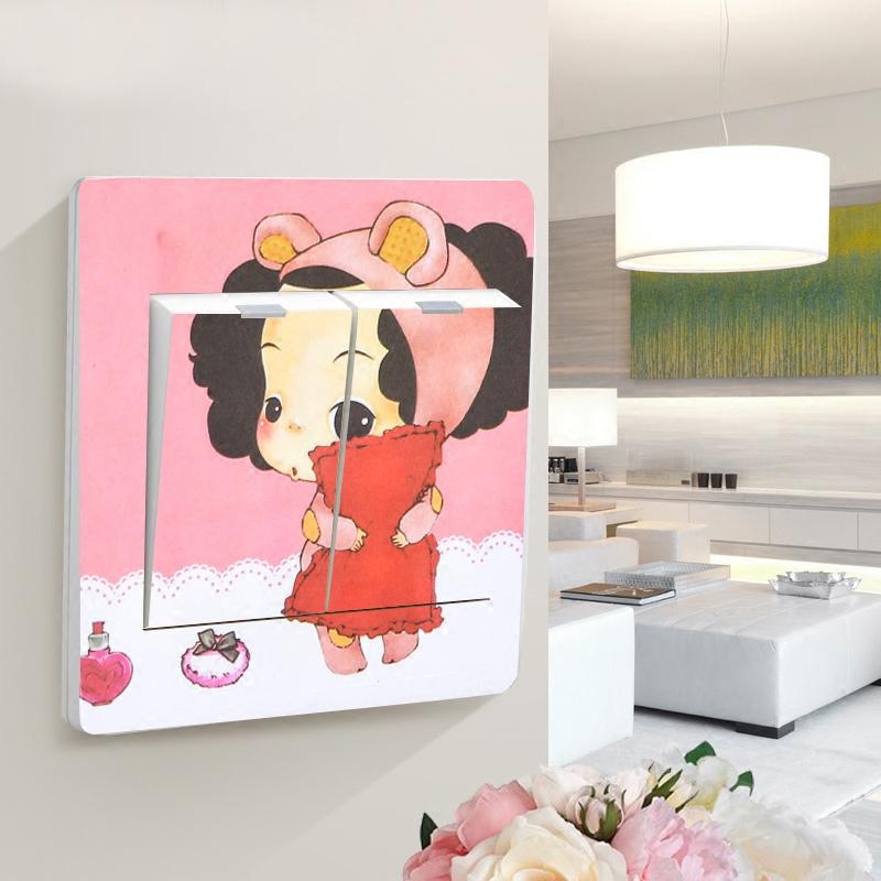 可爱卡通创意开关贴纸电源装饰贴墙贴彩色个性插座贴墙贴画开关套
