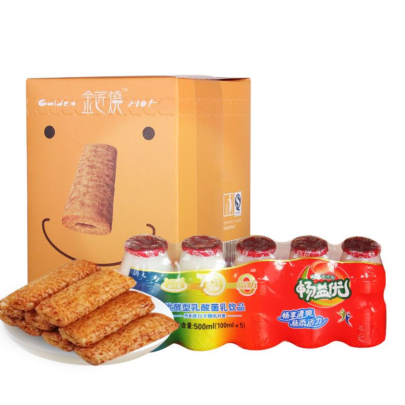 ~天貓超市~長鼻王金匠燒雞蛋夾心120g 暢益優乳酸菌飲品100ml^~5