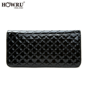 2015 new purse Japanese and Korean edition solid color zipper around wallet embossed clutch bag handbag