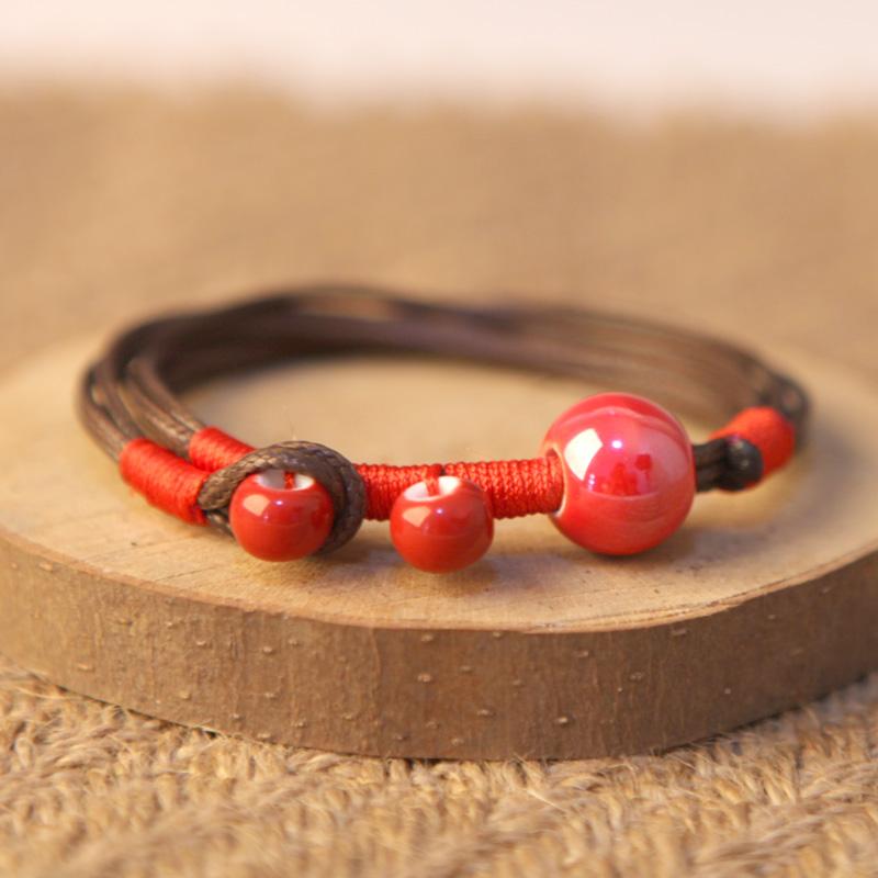 青歌景德镇手工陶瓷饰品 颜色釉瓷珠手链 男女款 多色可选