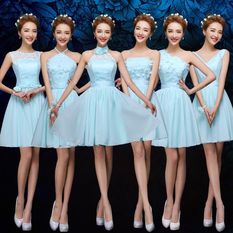 2016 новый стиль невесты платья Короткие весна и осень синий сестры платье платья невесты платье тонкий
