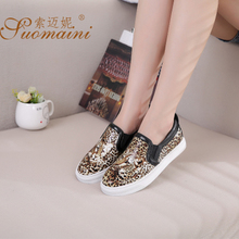 Mr. Michael ni leopard loafers on low for 3 d printing a higher platform for women's shoes and recreational leather shoes female tide