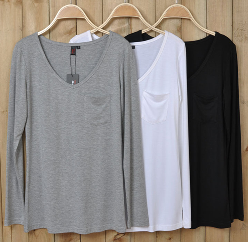 European and American original foreign trade large womens spring long sleeve V-neck pocket loose T-shirt modal