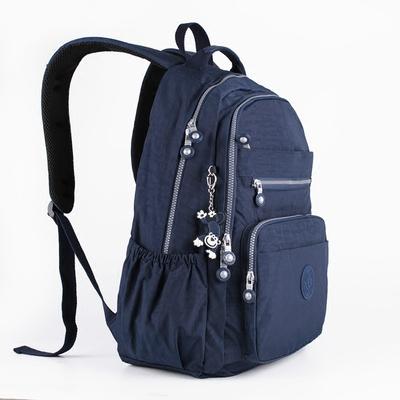 大号多层口袋双肩包洗水尼龙布时尚旅行背包男女生中学生轻便书包