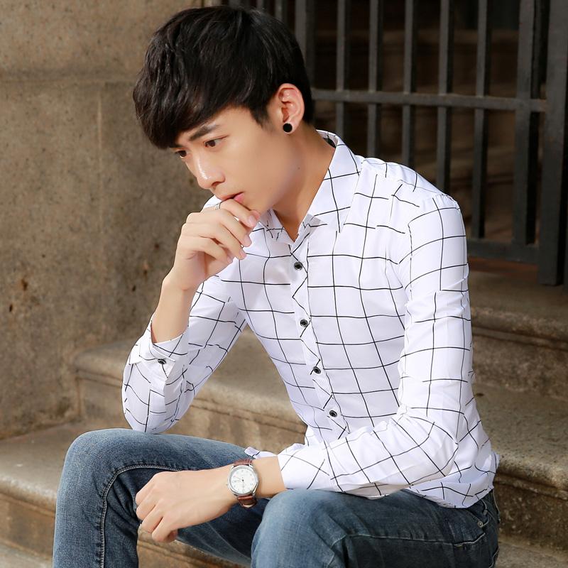 長袖襯衫男 青少年格子 襯衣 男士 修身印花寸衫潮男裝