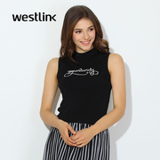 Westlink/West spring 2016 new stylish sleeveless slim high neck head letters knit vest