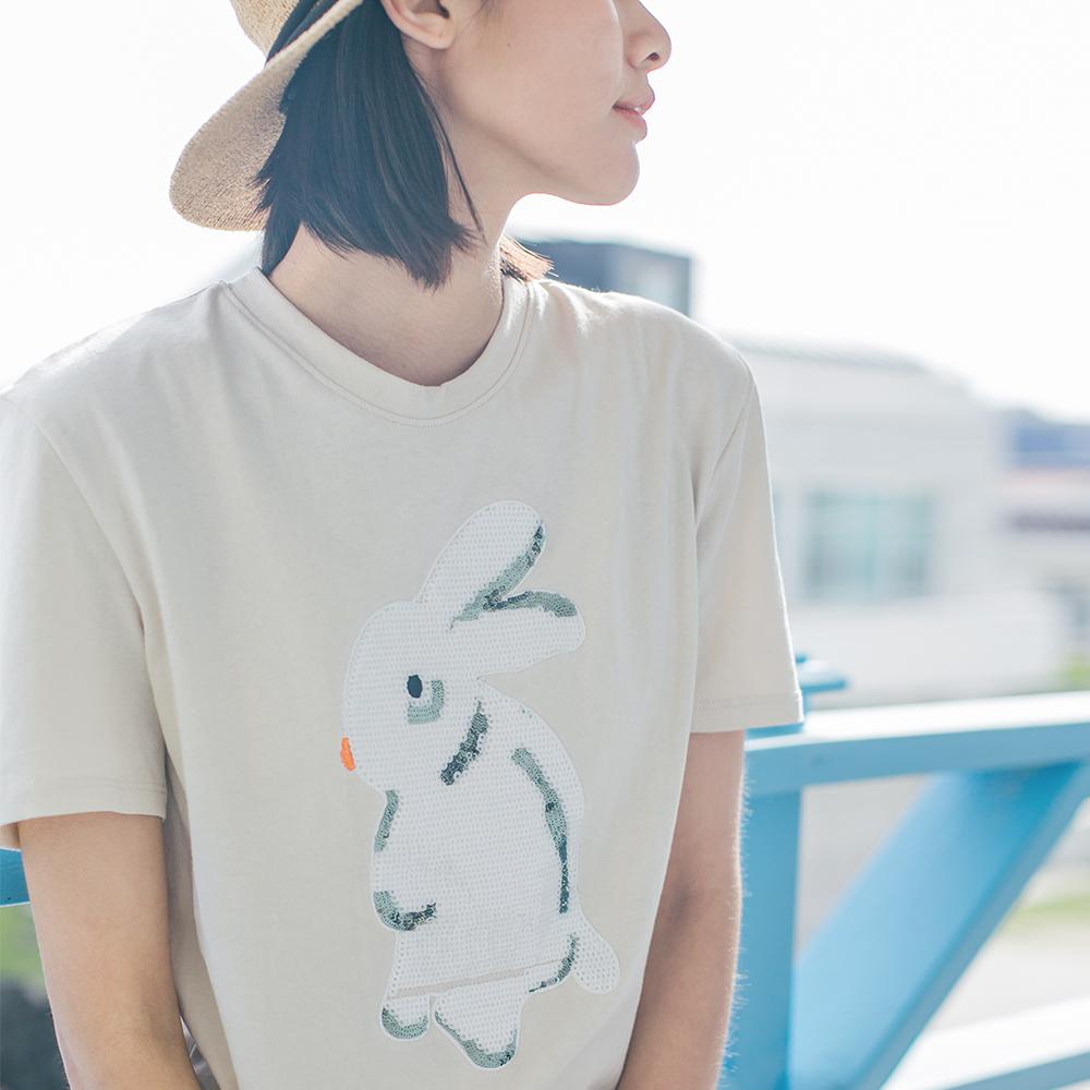 ~買3免1~CLOUDSPACE女裝2017夏裝卡通兔亮片短袖t恤女夏T5158