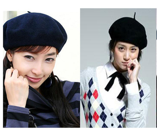 Classic autumn and winter hats Wool Wool Lei Pui wild joker hat painter hat dark blue color optional