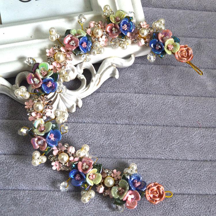 Корейская свадьба тень собственности консигнации кристалл для новобрачных ювелирные изделия украшенные цветок Оптовая ручной венок головной убор пакет почты