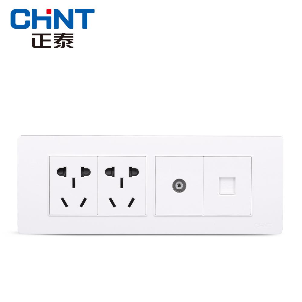 正泰电工 118型插座面板 NEW5D钢架炫白色 四位二插电话电视