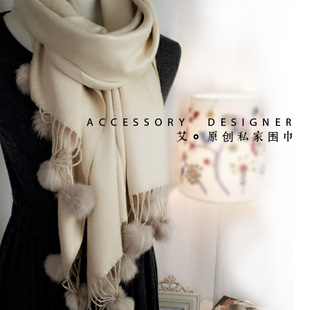 South Korean female thick warm cotton scarf spring and winter lob Tencel beige scarf shawl long section of dual use