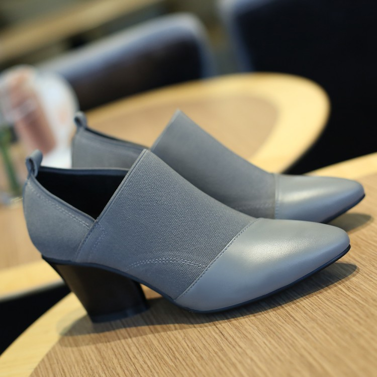 Pointed deep mouth high heel womens shoes Grey Leather Medium heel shoes autumn and winter 2020 black thick heel versatile womens shoes