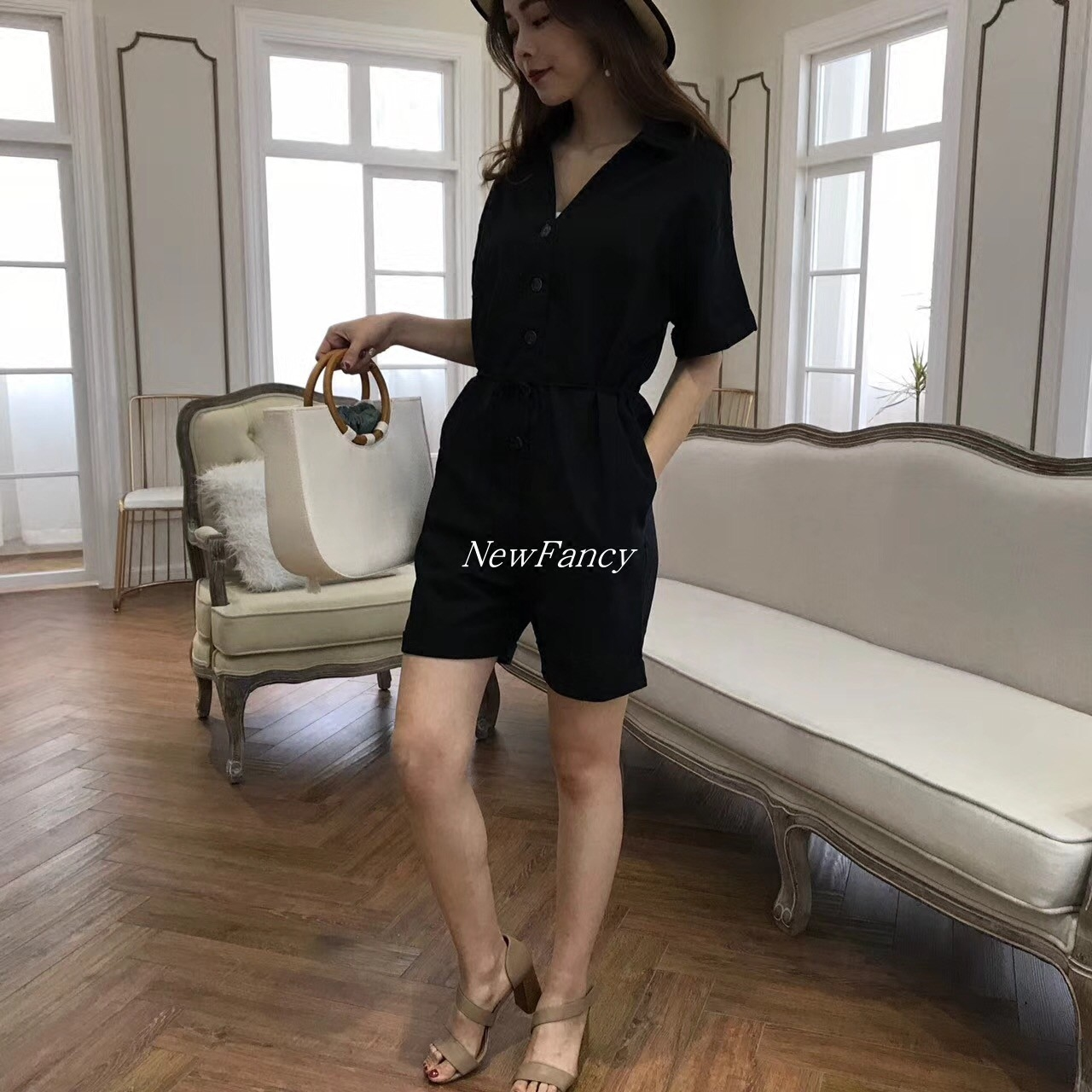 New spring and summer new this womens wear solid color single breasted lace up cotton and hemp one-piece shorts fashion suit womens wear