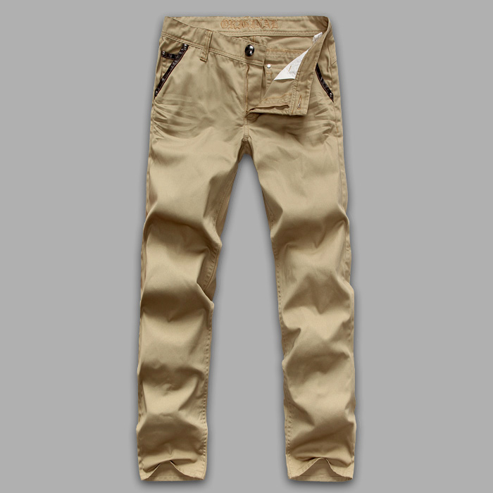 Defective specials, daily orders, solid and tough khaki men's trendy casual pants, exquisite accessories, craft details