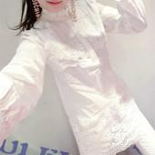 秋冬加绒中长款衬衫女韩范长袖修身显瘦打底衫蕾丝拼接钉珠衬衣女