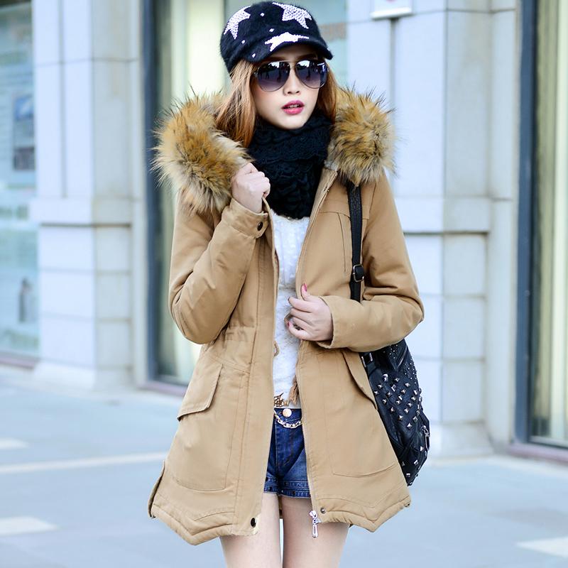 中长款棉服大毛领加厚冬装外套