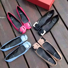 Fall 2015 new flats in Europe and America color matching square buckle single light mouth flat shoes with low shoes for women's shoes with square head