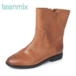 Teenmix/天美意冬季专柜同款牛皮女靴6D462DZ5