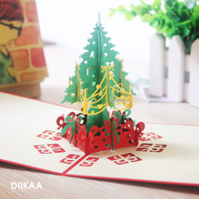 2019 Christmas greeting card South Korea creative gift three dimensional paper cutting Chinese style business blessing language 3D small card