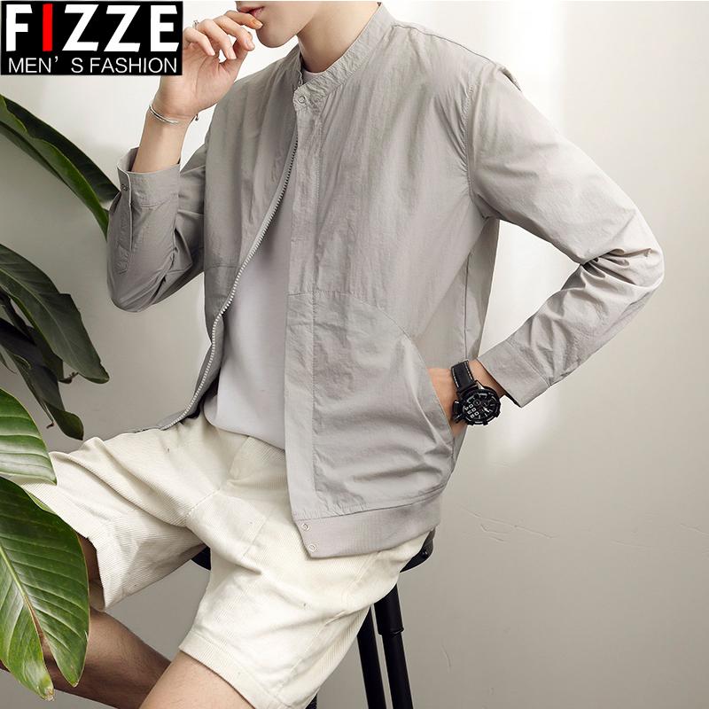 春夏季男士夹克修身韩版潮男装外套薄款棒球服青年学生纯色防晒衣