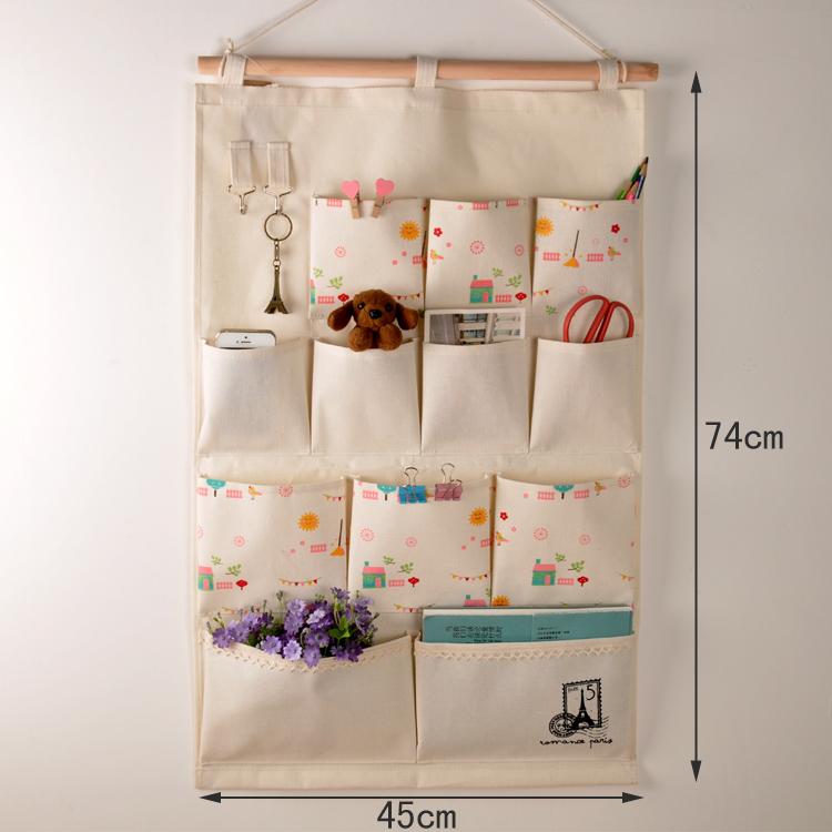 收纳袋多层多兜挂袋门后墙上挂带棉麻布艺壁挂式置物袋大号储物袋