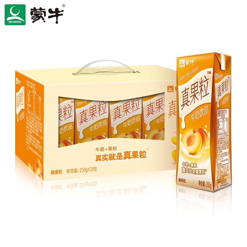 ~天貓超市~蒙牛真果粒黃桃果粒250g^~12盒 真實果粒在其中