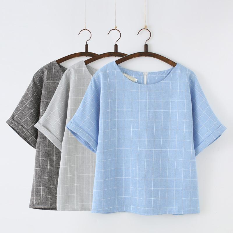 2017夏裝閨蜜姐妹裝 女裝學生格子上衣女寬鬆短袖T恤女文藝