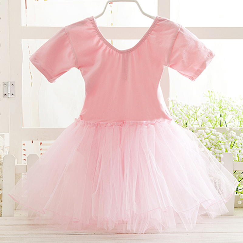 Package mail new pure cotton childrens Ballet yarn skirt girls summer dance practice performance clothes short sleeve practice clothes
