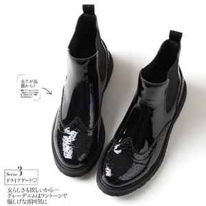 秋冬新款漆皮布洛克靴 欧美经典真皮马丁靴女平底雕花女短靴