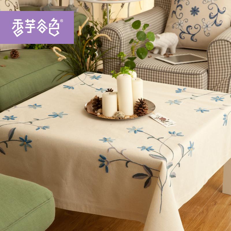棉麻魯繡田園布藝六人桌布 正方形台布 美式鄉村電腦床頭櫃蓋布