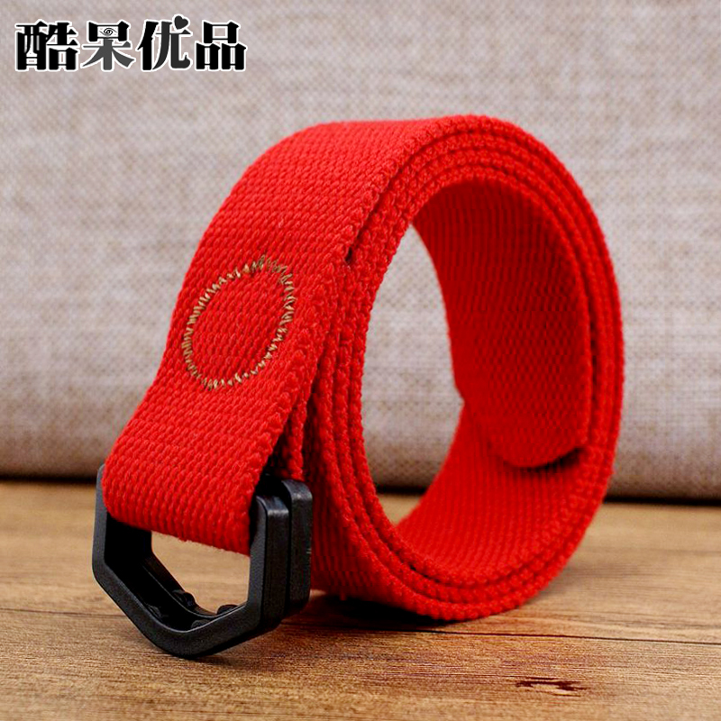 Men and women candy color plastic non metal iron free canvas belt woven plastic double ring button head thin belt