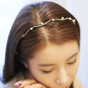 Know NI the Korean version of row faux Pearl rhinestone headband temperament waves diamond thin headband hairpin hair accessories