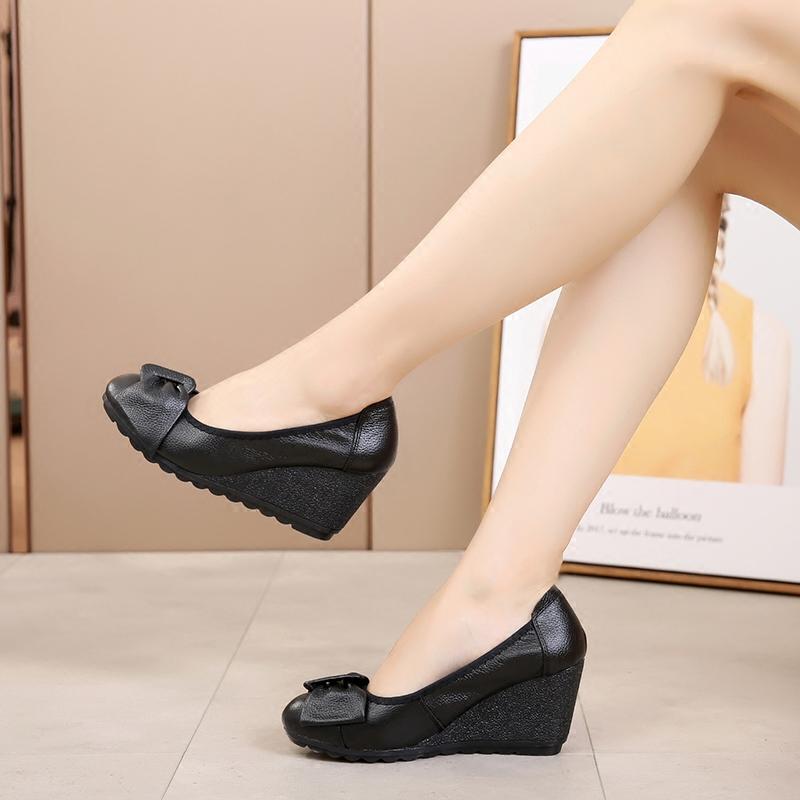 真皮女鞋坡跟单鞋舒适牛筋软底圆头蝴蝶结护士鞋休闲女鞋子工作鞋