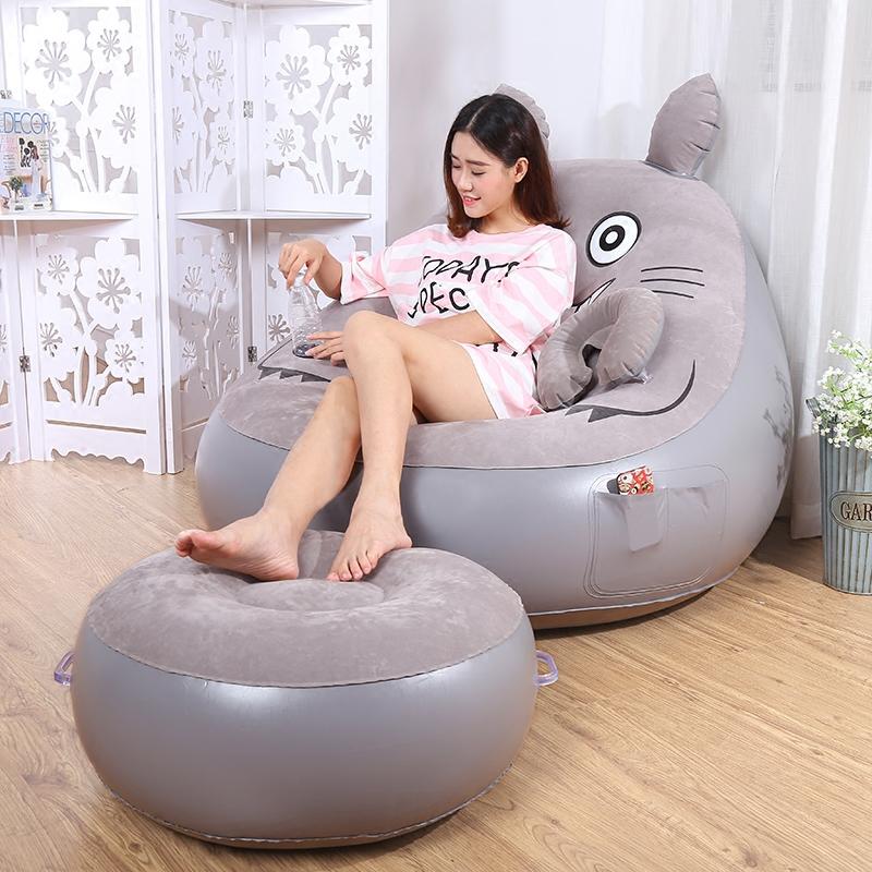 懒人沙发龙猫床单人充气沙发卧室可爱躺椅小午休时尚气垫沙发椅子