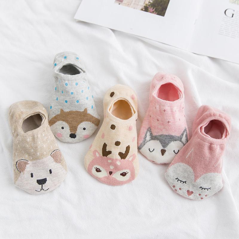 5双低帮硅胶防滑隐形袜女纯棉薄款船袜
