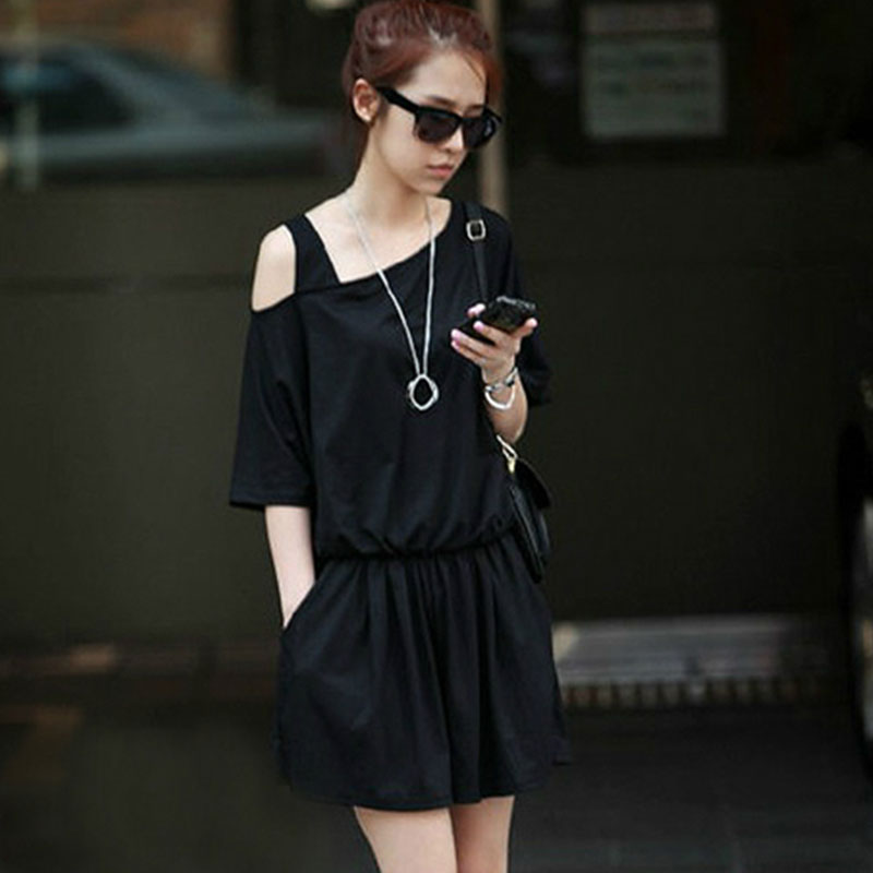 Summer 2020 new short sleeve off the shoulder loose wide leg Jumpsuit pants womens large casual Jumpsuit shorts trend