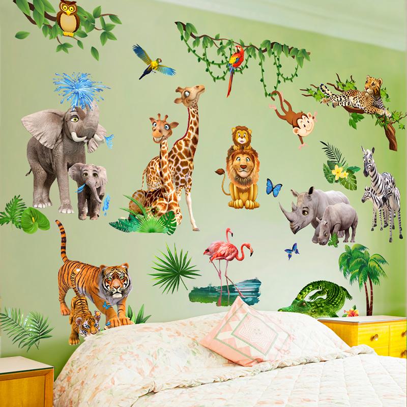 卡通动物婴儿宝宝早教墙画儿童房3D立体墙贴画卧室墙壁纸装饰贴纸