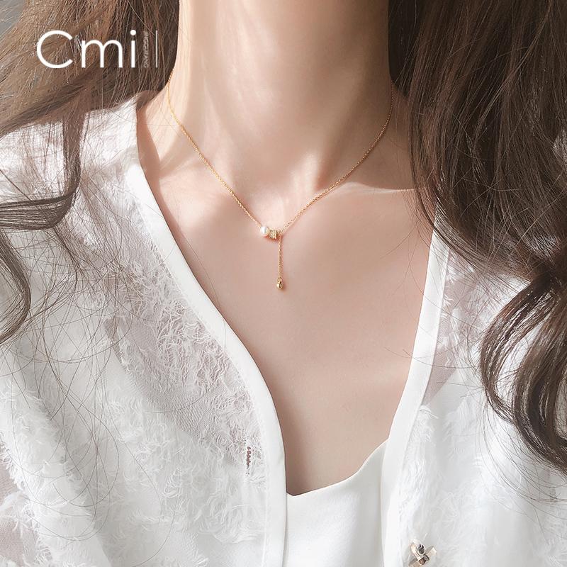 珍珠闪钻几何抽拉项链银简约个性设计感气质女锁骨链韩版网红潮女