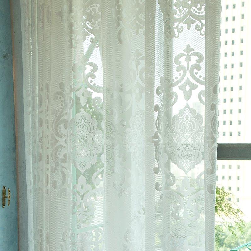 实惠加厚成品卧室简约白纱窗帘高档落地窗纱阳台纱帘客厅白沙帘
