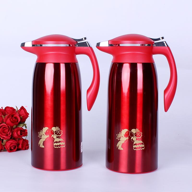 思泽 创意结婚庆用品热水瓶 新娘嫁妆陪嫁暖壶 红色不锈钢保温壶