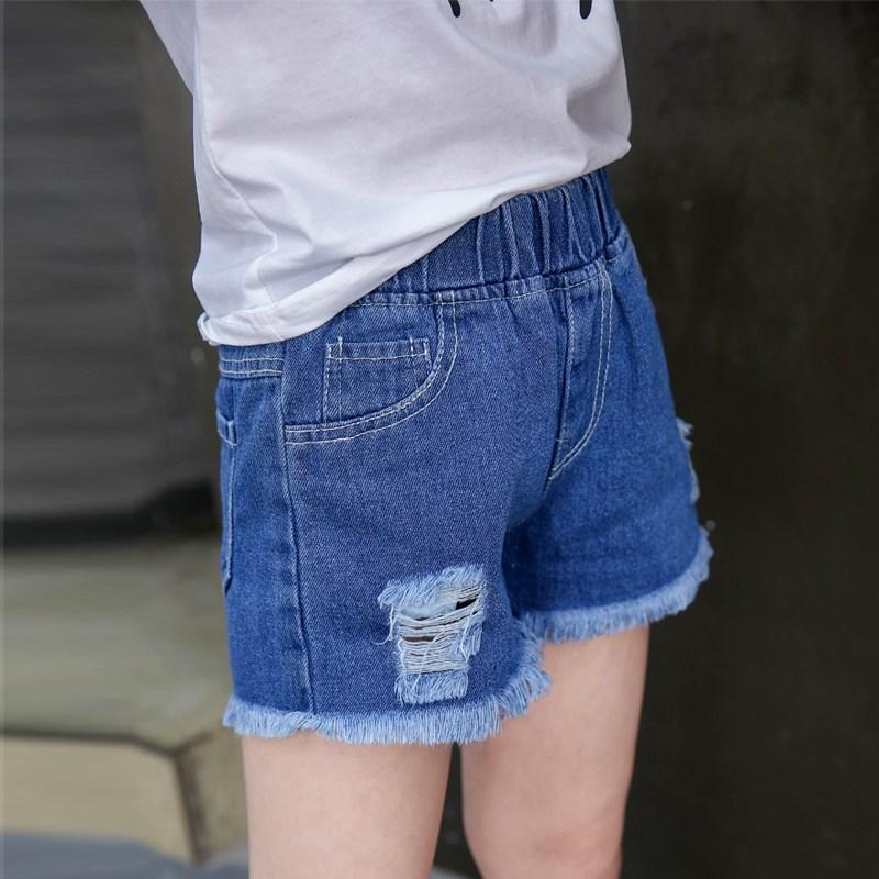 女童裤子夏装大童女装牛仔短裤破洞裤衩外穿中童女孩毛边热裤2012
