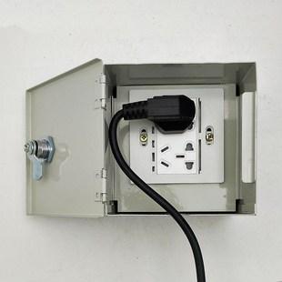电动车防盗充电插座盒明装室外外防墙壁铁盒电源插座上锁小区汽车