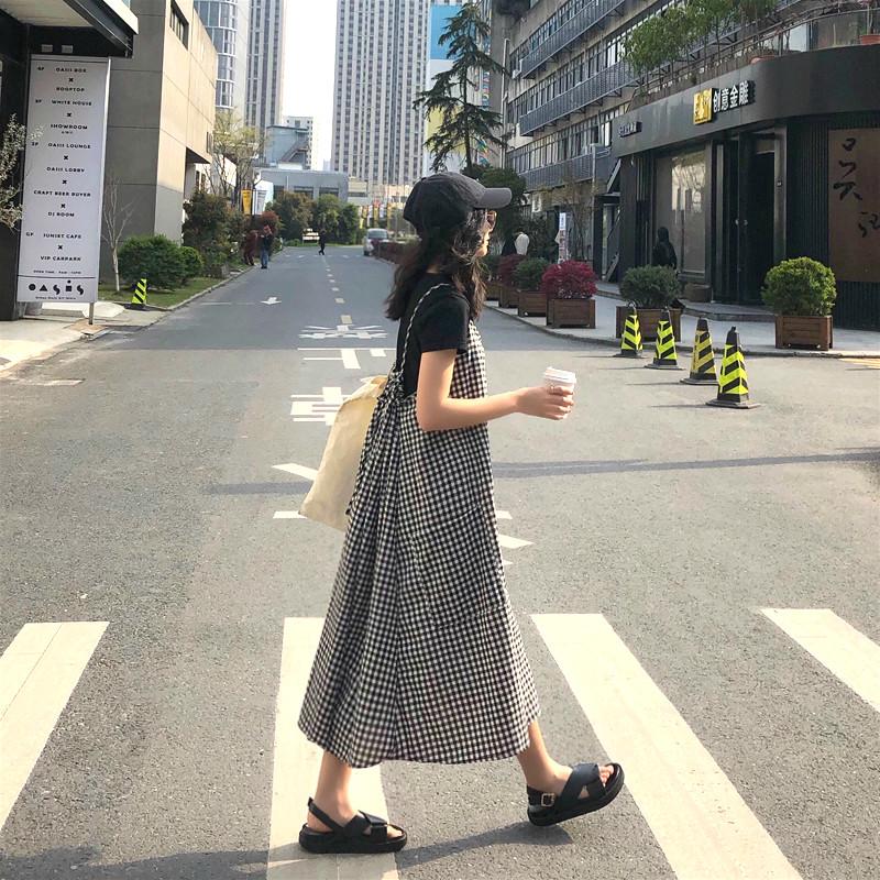 2019夏装新款韩版宽松格子女连衣裙10-10新券