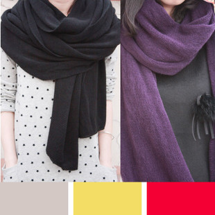 2012 autumn and winter classic big thick Super warm wool scarf shawl black red beige purple multicolor