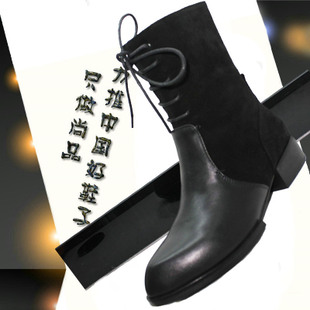 Version of the European leg of Wang Fei Ou British retro leather boots Martin boots pointed flat low heeled shoes women in Europe and America